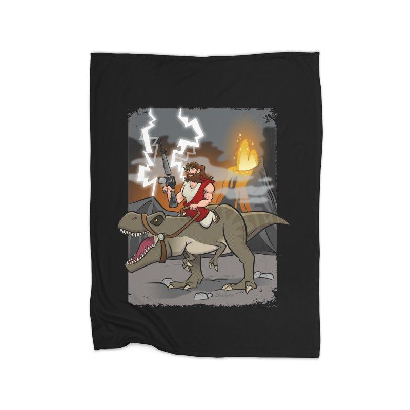 Jesus Riding Dinosaur Home Blanket by binarygod's Artist Shop