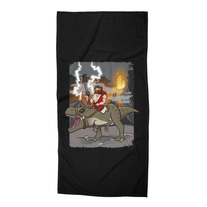 Jesus Riding Dinosaur Accessories Beach Towel by binarygod's Artist Shop