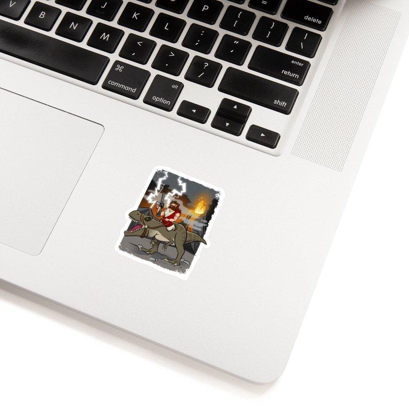 Jesus Riding Dinosaur Accessories Sticker by binarygod's Artist Shop