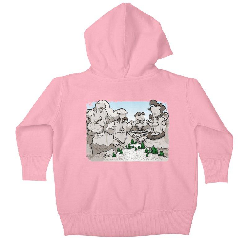 Rushmore Caricature Kids Baby Zip-Up Hoody by binarygod's Artist Shop