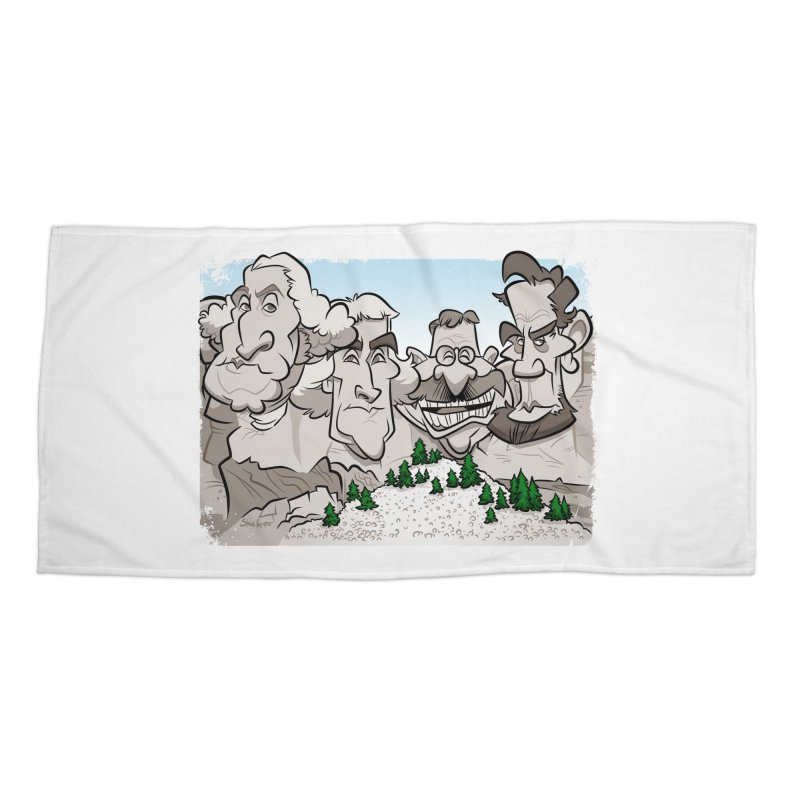 Rushmore Caricature Accessories Beach Towel by binarygod's Artist Shop