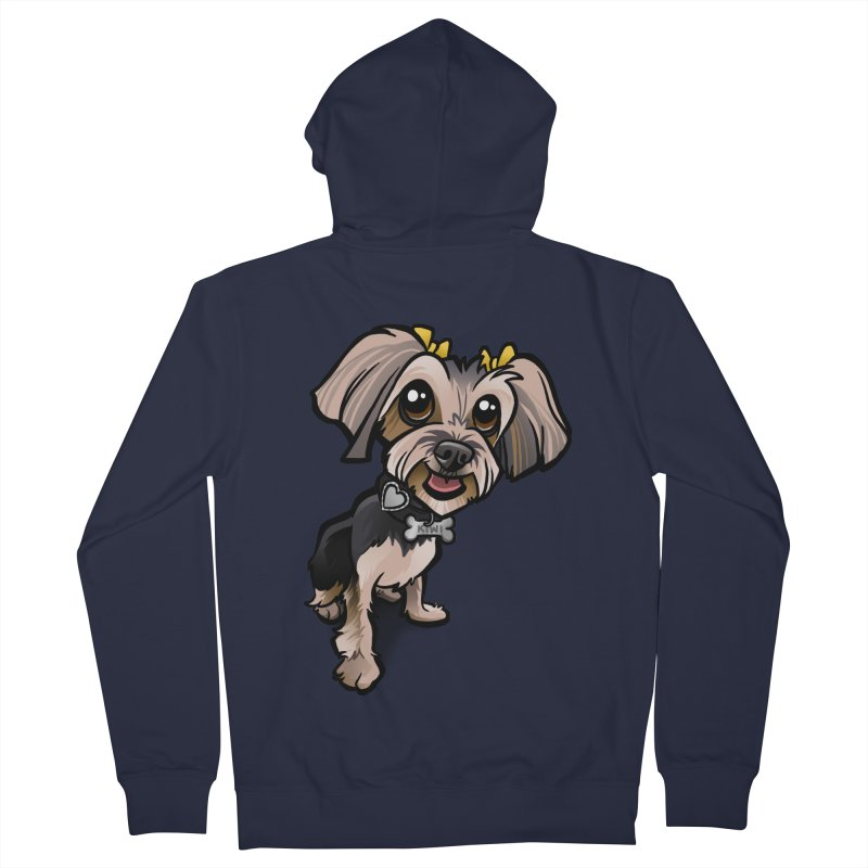 Yorkie Men's French Terry Zip-Up Hoody by binarygod's Artist Shop