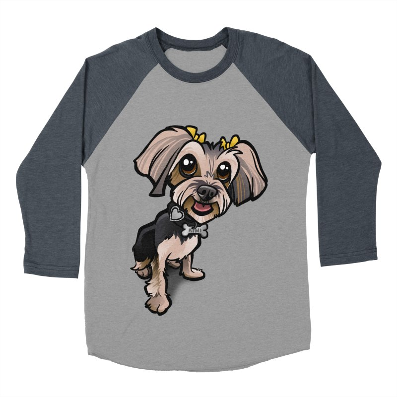 Yorkie Men's Baseball Triblend Longsleeve T-Shirt by binarygod's Artist Shop