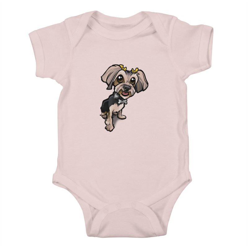 Yorkie Kids Baby Bodysuit by binarygod's Artist Shop