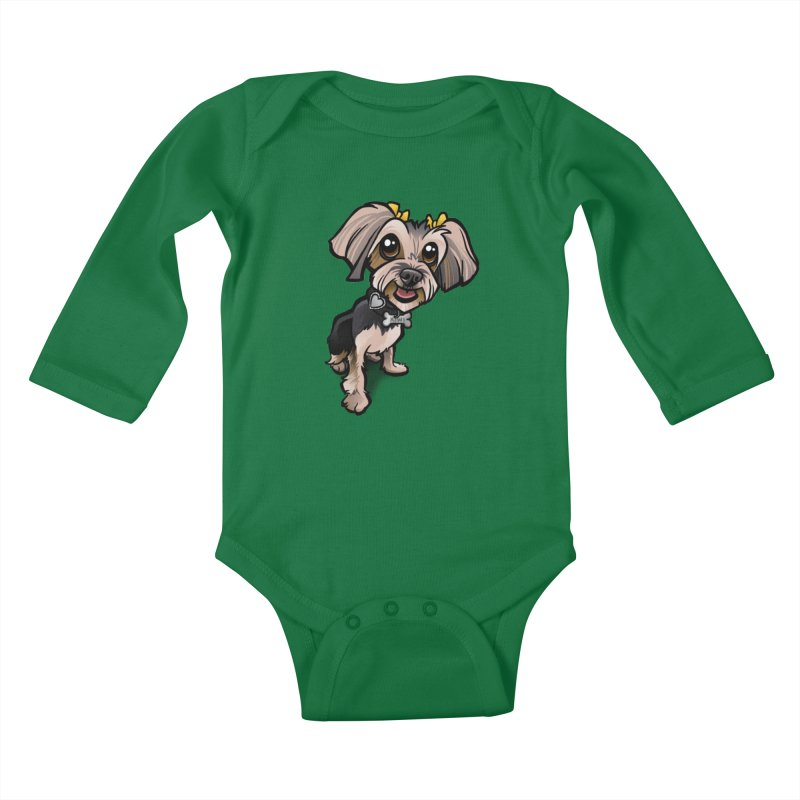 Yorkie Kids Baby Longsleeve Bodysuit by binarygod's Artist Shop
