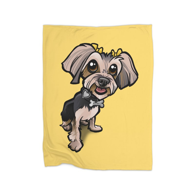 Yorkie Home Fleece Blanket Blanket by binarygod's Artist Shop