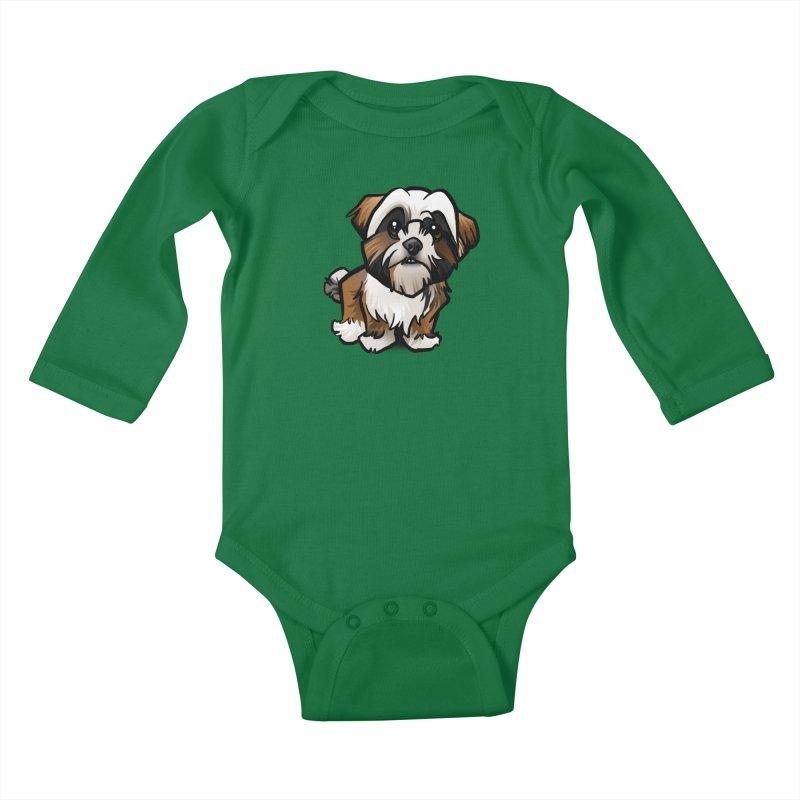 Shih Tzu Kids Baby Longsleeve Bodysuit by binarygod's Artist Shop