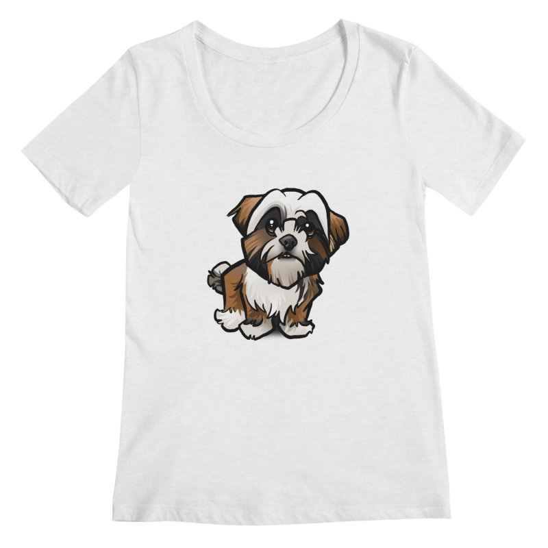 Shih Tzu Women's Scoop Neck by binarygod's Artist Shop
