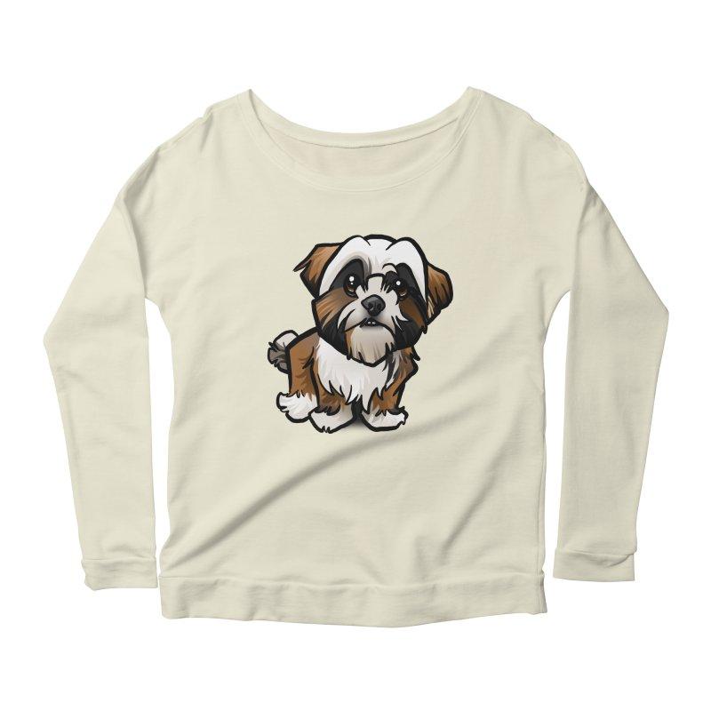 Shih Tzu Women's Scoop Neck Longsleeve T-Shirt by binarygod's Artist Shop