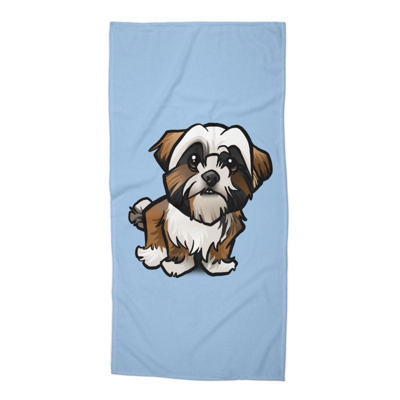 Shih Tzu Accessories Beach Towel by binarygod's Artist Shop