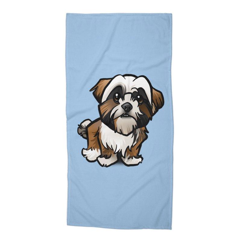 Shih Tzu Accessories Beach Towel by binarygod's Artist Shop