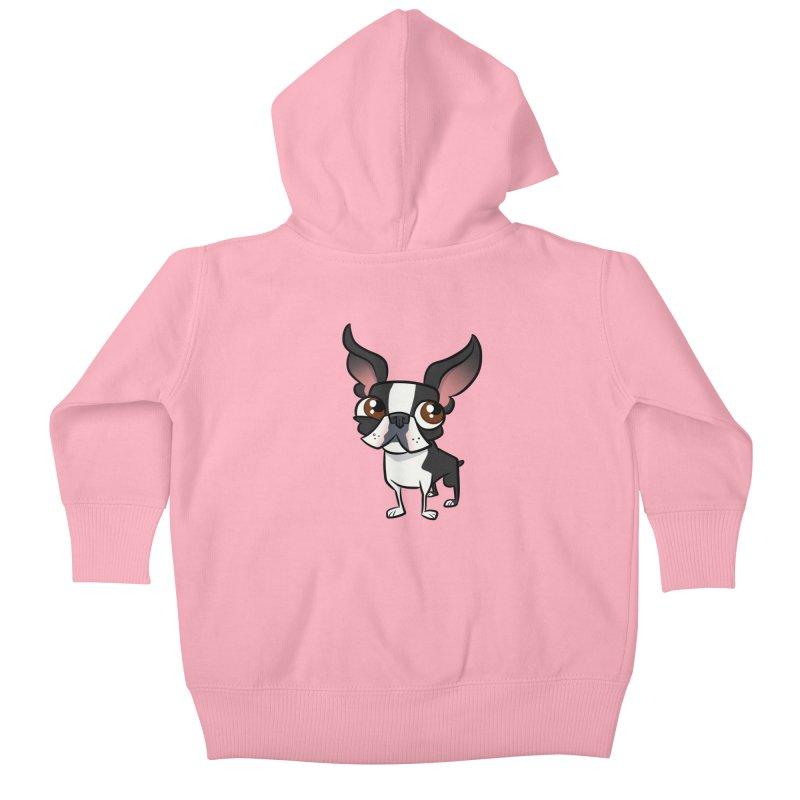 Boston Terrier Kids Baby Zip-Up Hoody by binarygod's Artist Shop