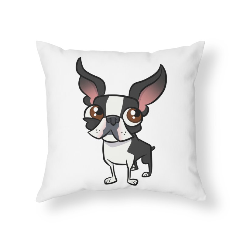 Boston Terrier Home Throw Pillow by binarygod's Artist Shop