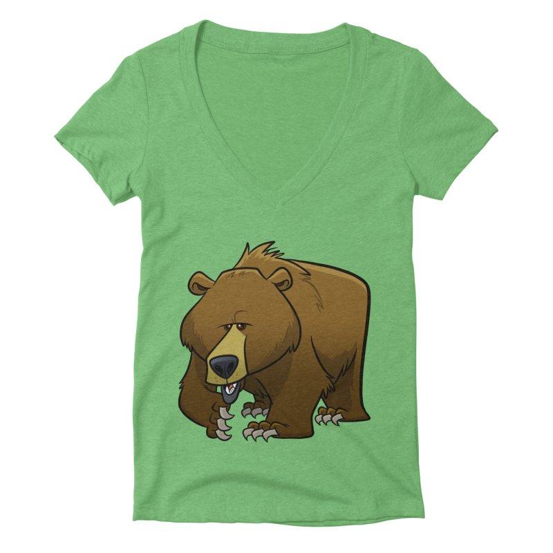 Grizzly Bear Women's V-Neck by binarygod's Artist Shop