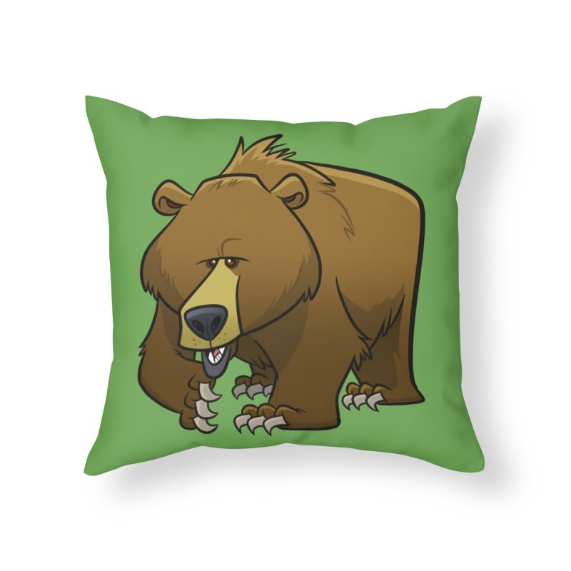 Grizzly Bear Home Throw Pillow by binarygod's Artist Shop