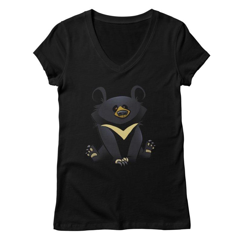 Moon Bear Women's V-Neck by binarygod's Artist Shop