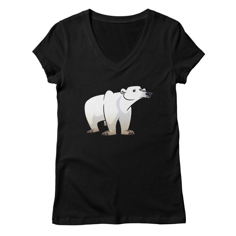 Polar Bear Women's V-Neck by binarygod's Artist Shop