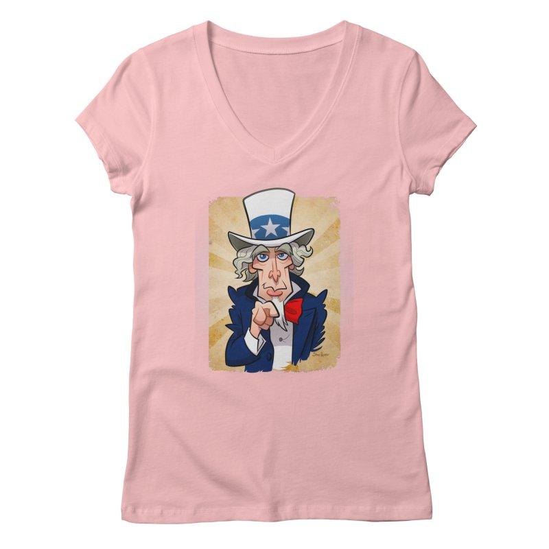 Uncle Sam Women's V-Neck by binarygod's Artist Shop