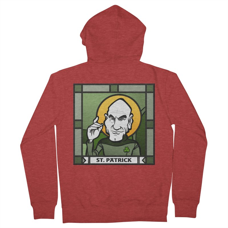 St. Patrick Women's French Terry Zip-Up Hoody by binarygod's Artist Shop