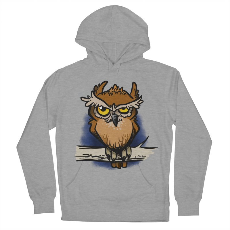 Grumpy Owl Women's French Terry Pullover Hoody by binarygod's Artist Shop
