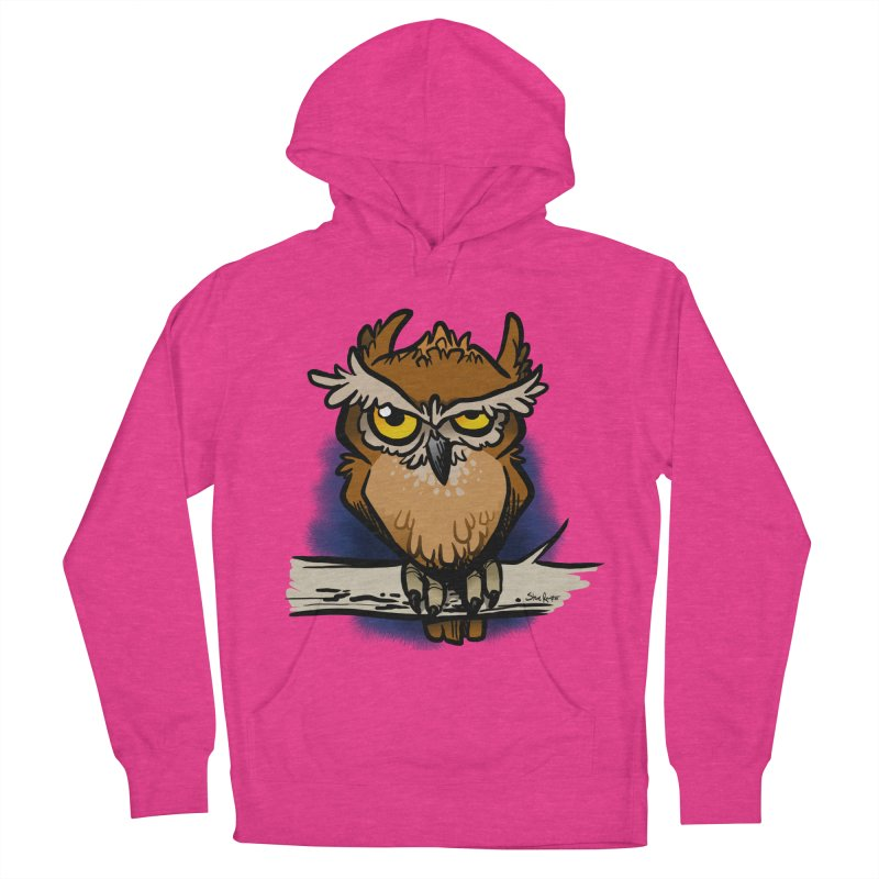 Grumpy Owl Men's French Terry Pullover Hoody by binarygod's Artist Shop