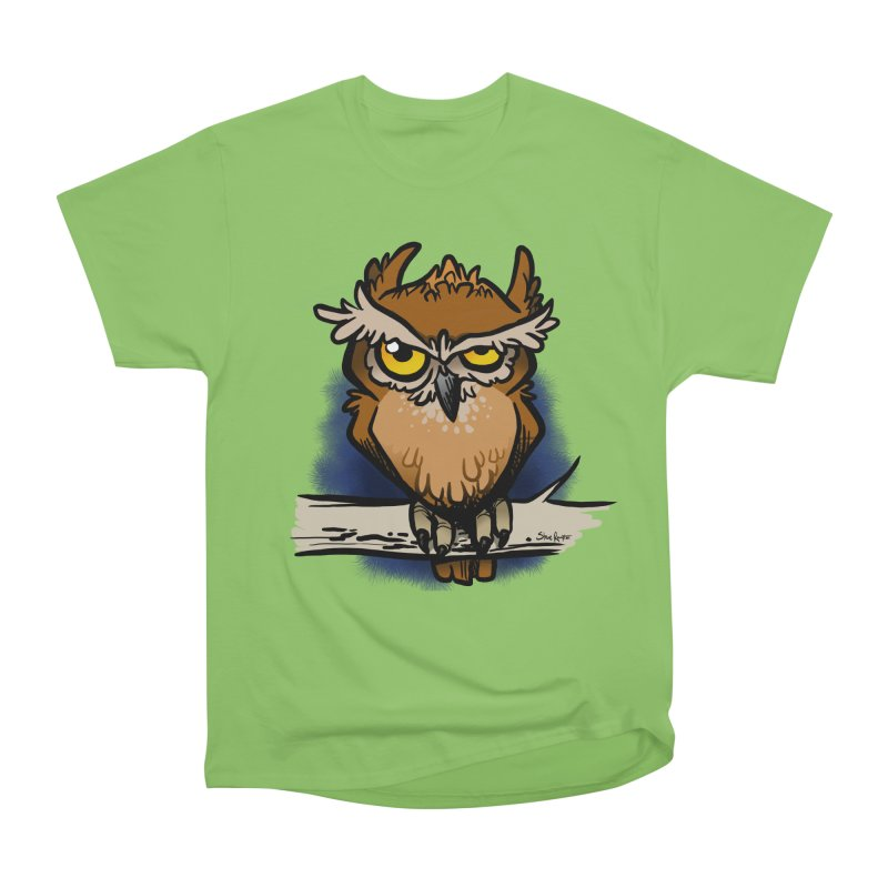 Grumpy Owl Women's Heavyweight Unisex T-Shirt by binarygod's Artist Shop
