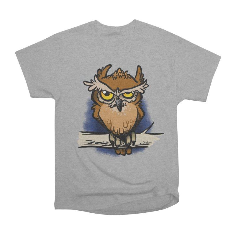 Grumpy Owl Women's Heavyweight Unisex T-Shirt by binarygod's Artist Shop