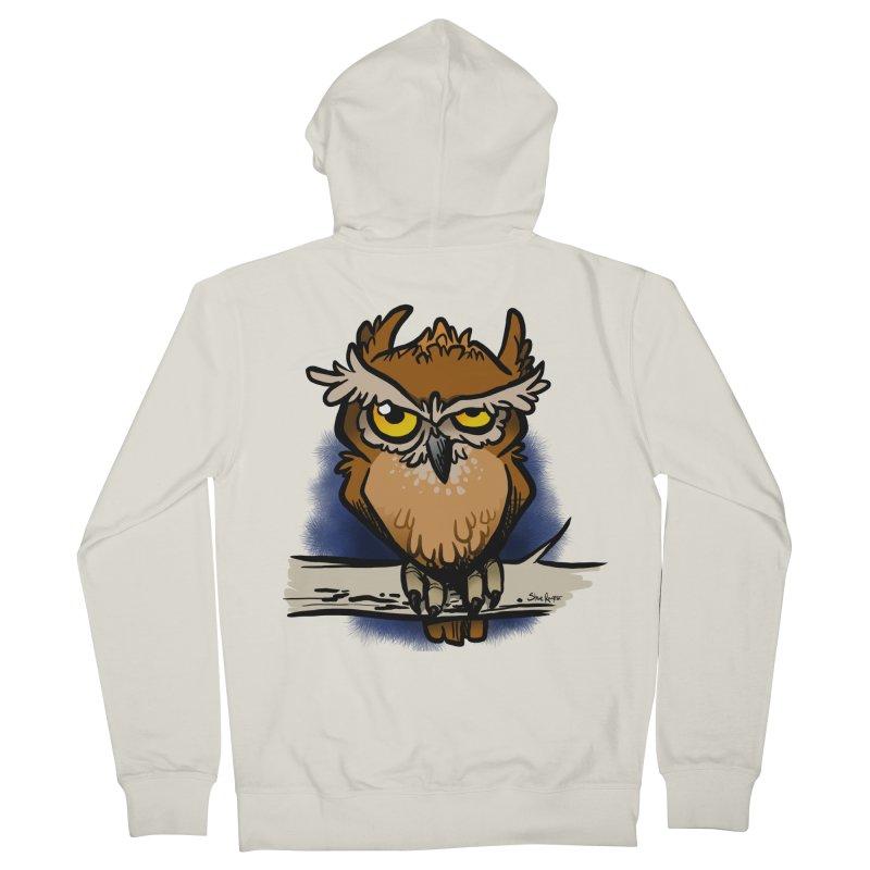 Grumpy Owl Women's French Terry Zip-Up Hoody by binarygod's Artist Shop