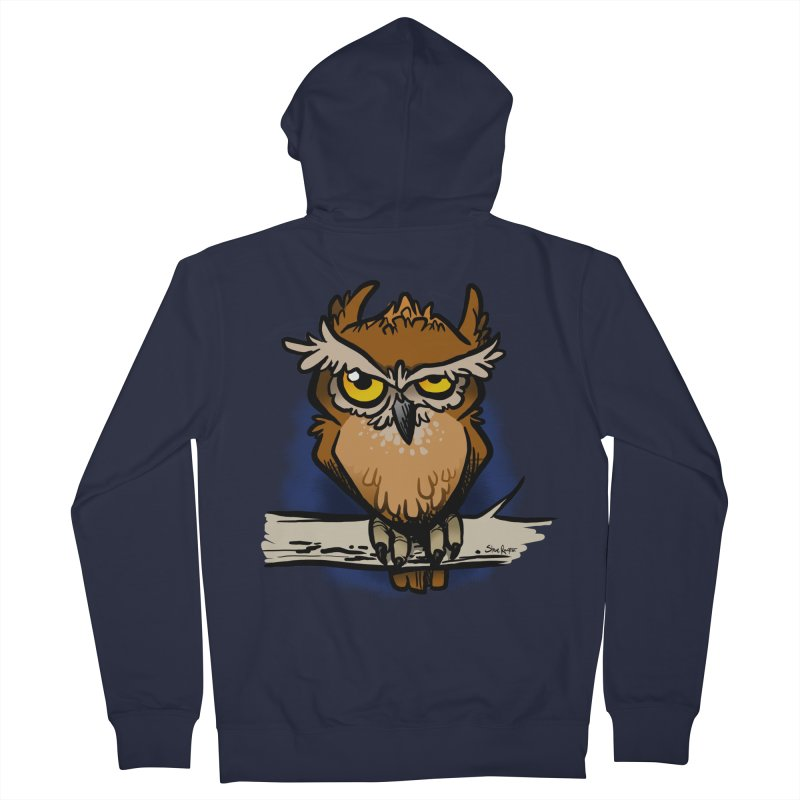 Grumpy Owl Women's French Terry Zip-Up Hoody by binarygod's Artist Shop