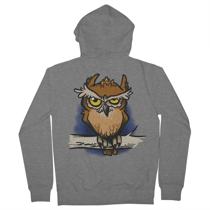 Grumpy Owl Men's French Terry Zip-Up Hoody by binarygod's Artist Shop