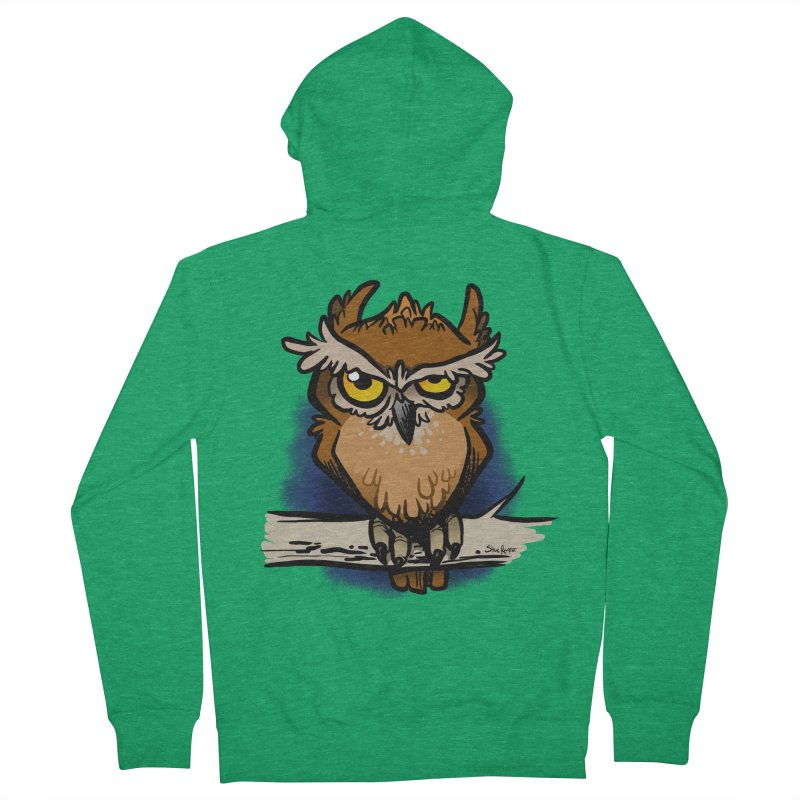 Grumpy Owl Men's Zip-Up Hoody by binarygod's Artist Shop