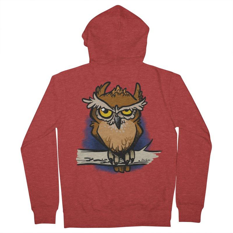 Grumpy Owl Men's Zip-Up Hoody by binarygod's Artist Shop