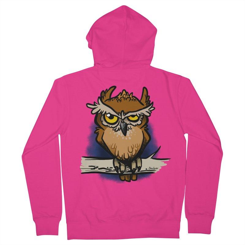 Grumpy Owl Men's French Terry Zip-Up Hoody by binarygod's Artist Shop