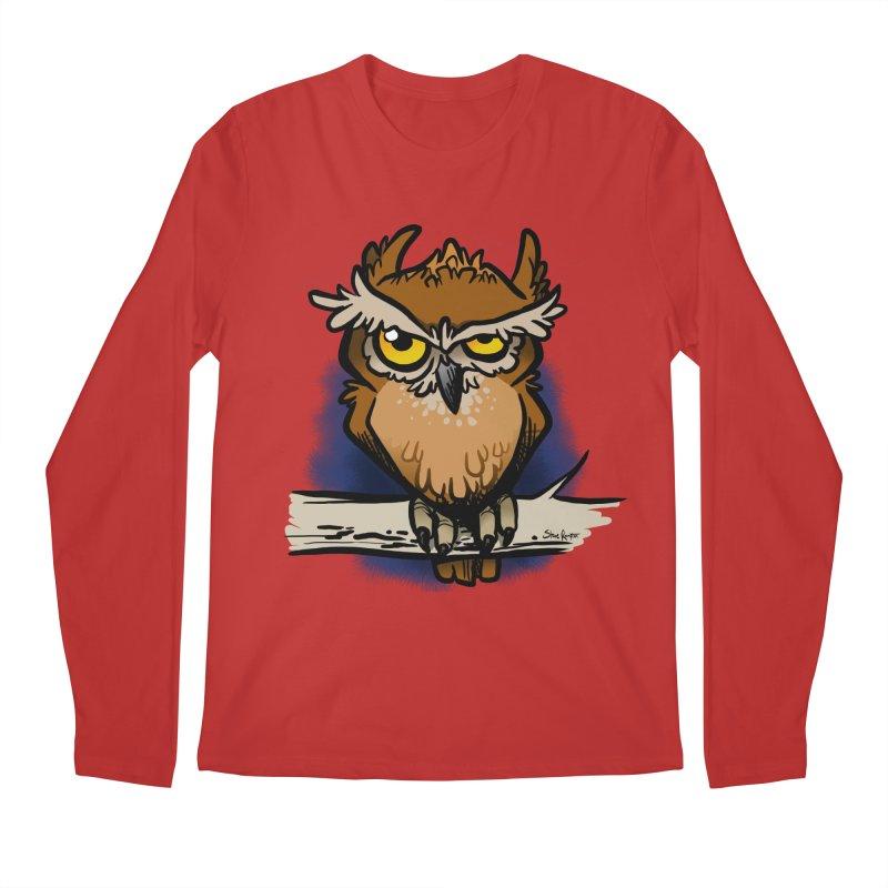 Grumpy Owl Men's Regular Longsleeve T-Shirt by binarygod's Artist Shop