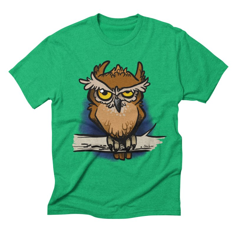 Grumpy Owl Men's Triblend T-Shirt by binarygod's Artist Shop