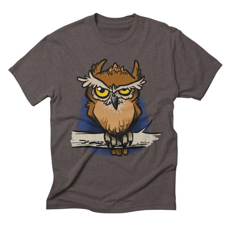 Grumpy Owl Men's Triblend T-Shirt by binarygod's Artist Shop