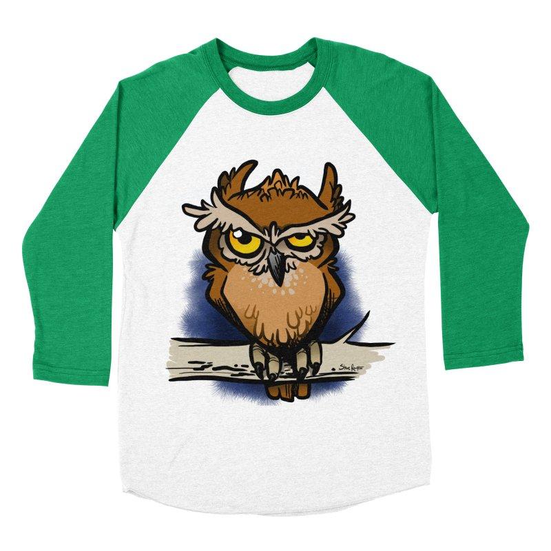 Grumpy Owl Women's Baseball Triblend Longsleeve T-Shirt by binarygod's Artist Shop