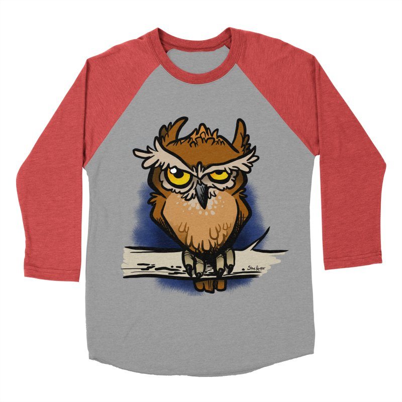 Grumpy Owl Men's Baseball Triblend Longsleeve T-Shirt by binarygod's Artist Shop