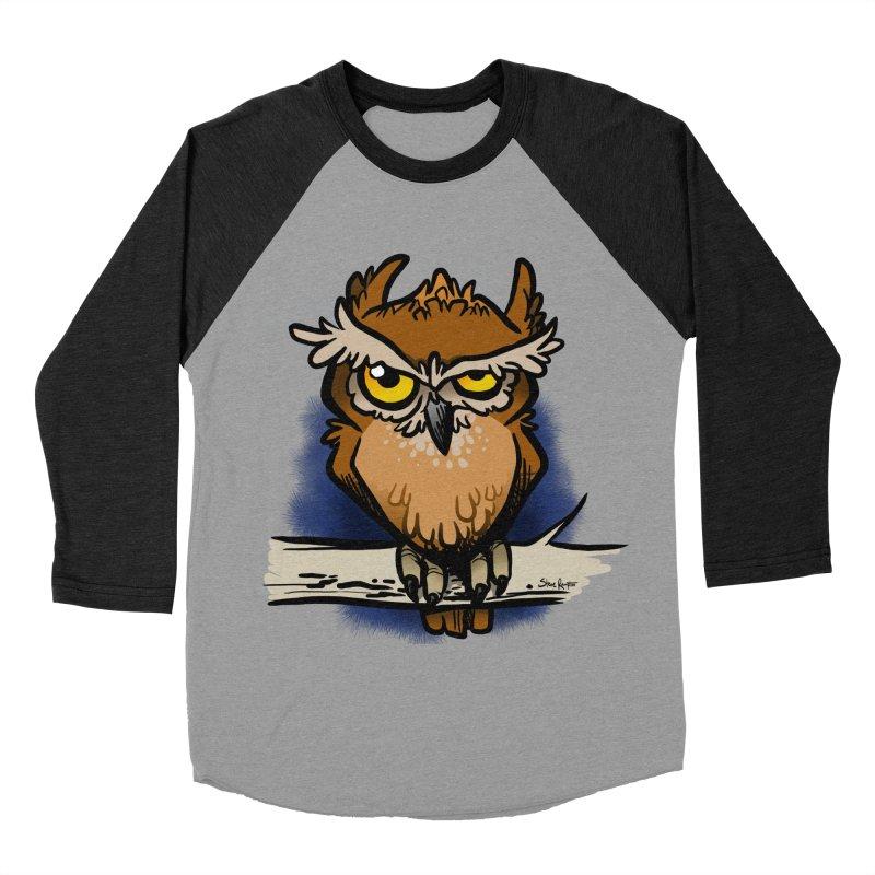 Grumpy Owl Men's Baseball Triblend Longsleeve T-Shirt by binarygod's Artist Shop