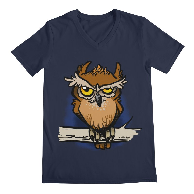 Grumpy Owl Men's Regular V-Neck by binarygod's Artist Shop