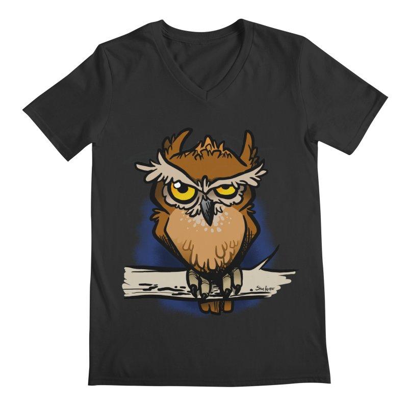 Grumpy Owl Men's Regular V-Neck by binarygod's Artist Shop