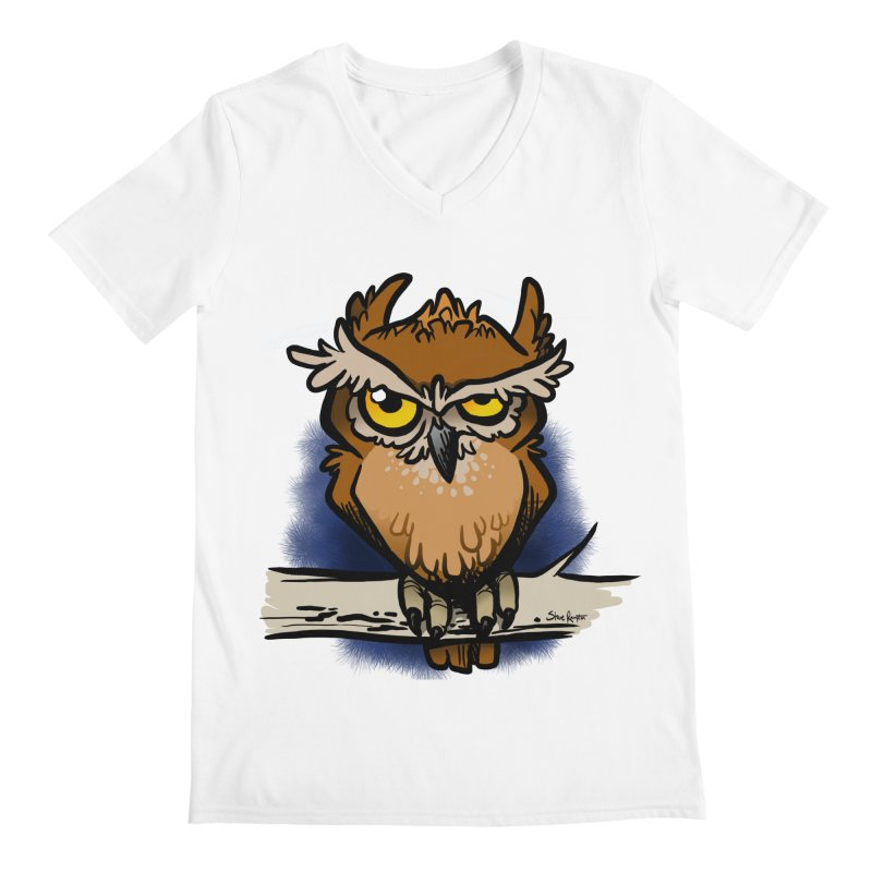 Grumpy Owl Men's V-Neck by binarygod's Artist Shop