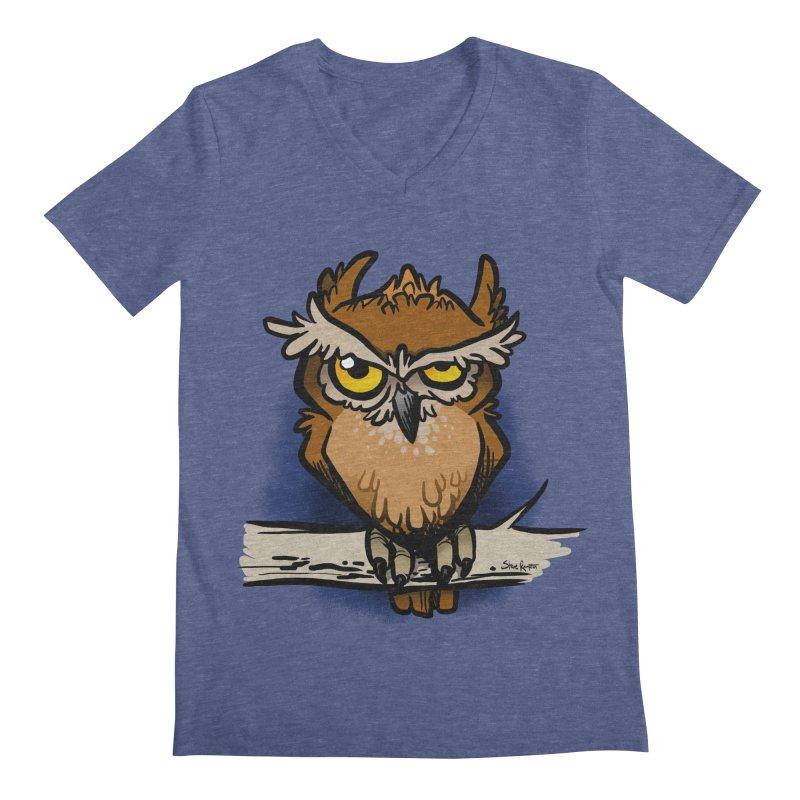 Grumpy Owl Men's V-Neck by binarygod's Artist Shop