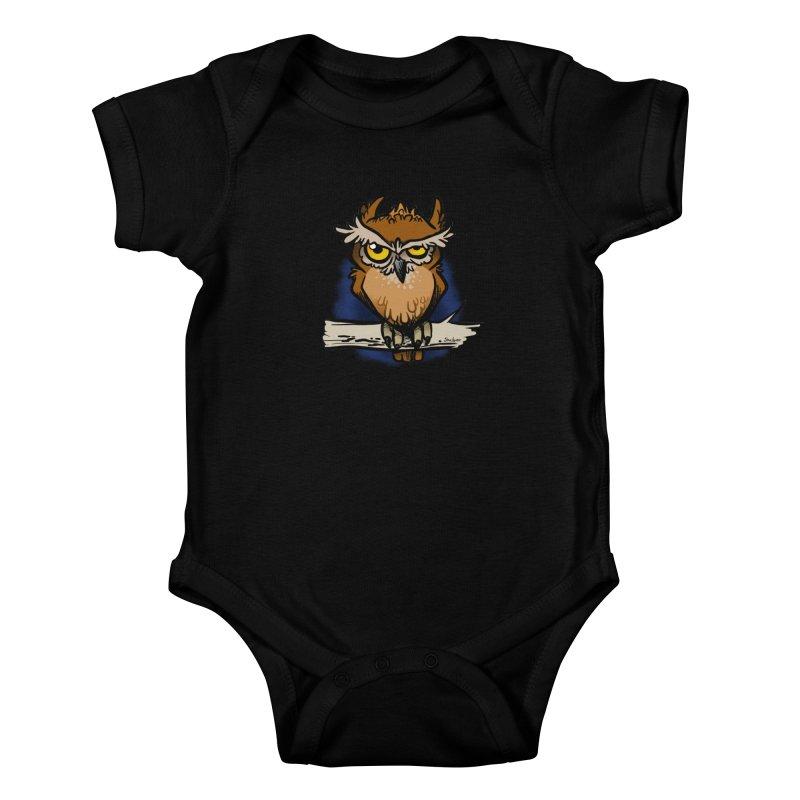 Grumpy Owl Kids Baby Bodysuit by binarygod's Artist Shop