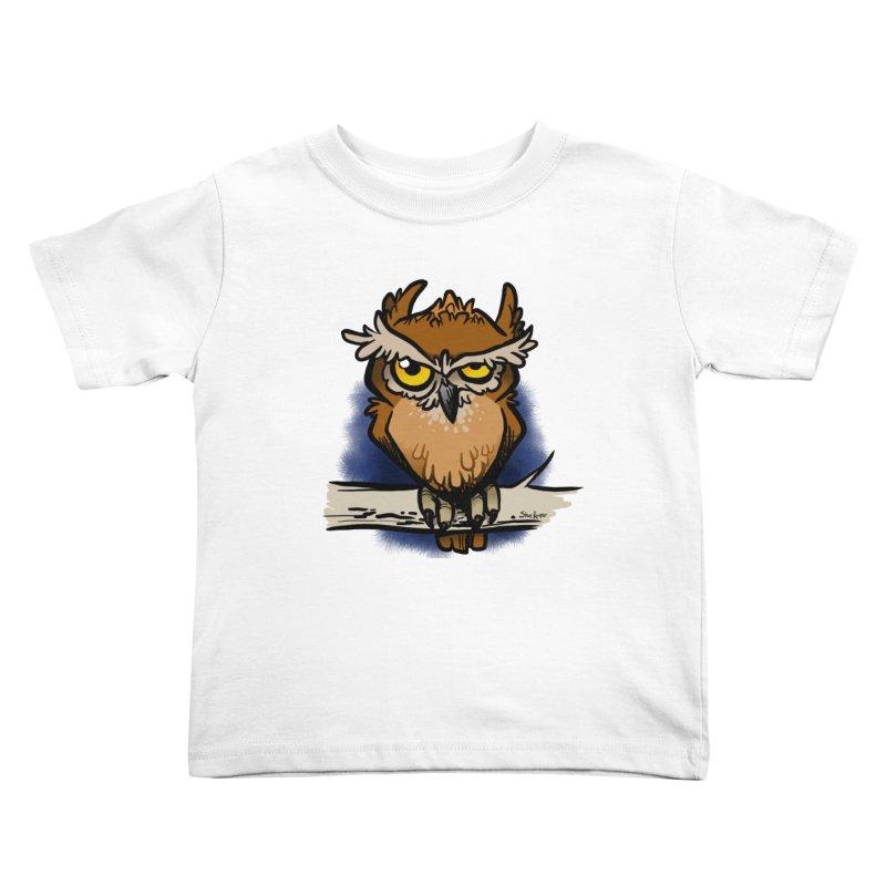 Grumpy Owl Kids Toddler T-Shirt by binarygod's Artist Shop