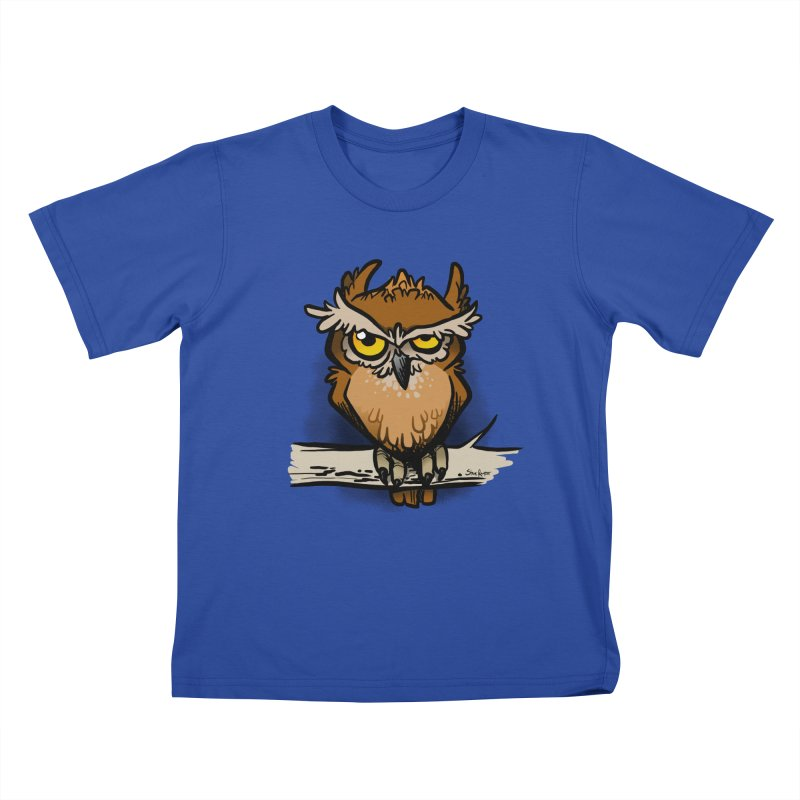 Grumpy Owl Kids T-Shirt by binarygod's Artist Shop