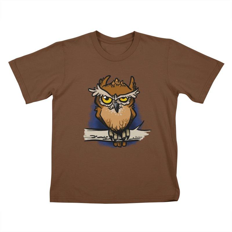 Grumpy Owl Kids T-Shirt by binarygod's Artist Shop