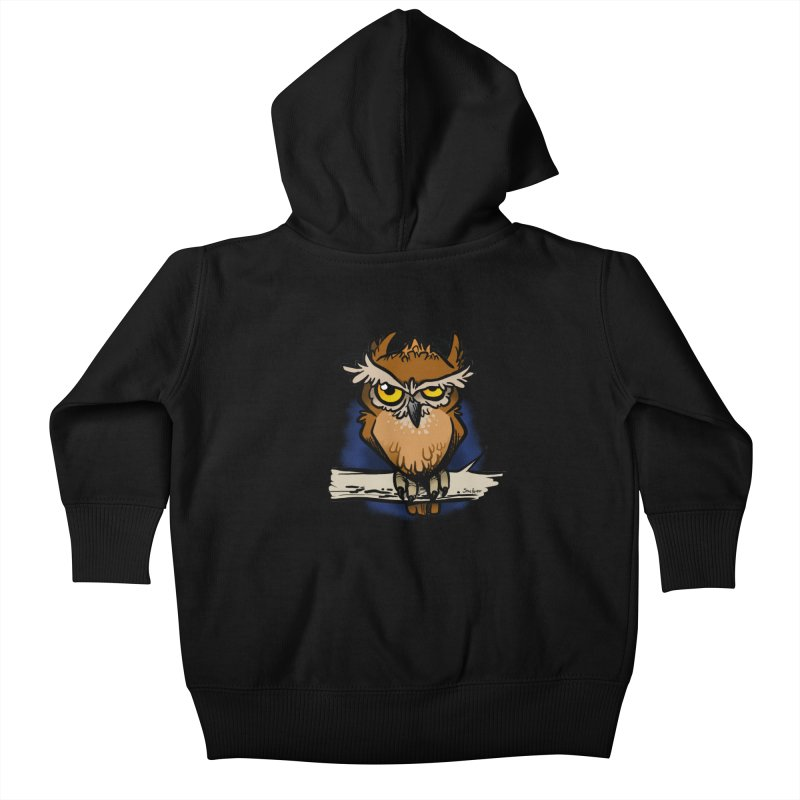 Grumpy Owl Kids Baby Zip-Up Hoody by binarygod's Artist Shop