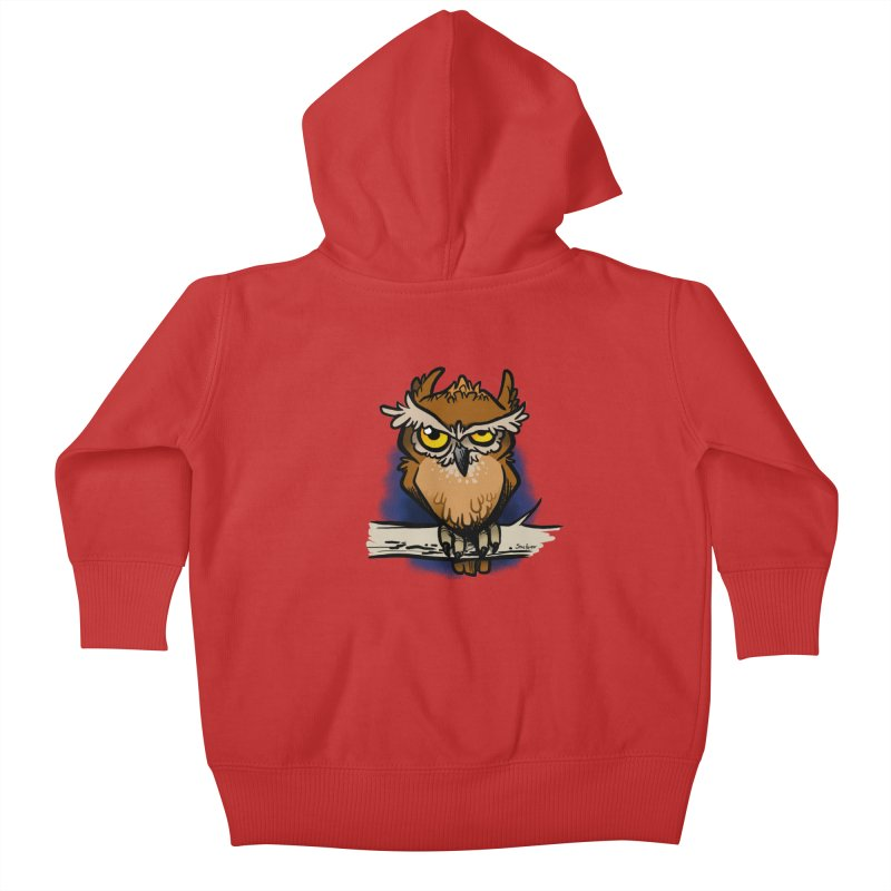 Grumpy Owl Kids Baby Zip-Up Hoody by binarygod's Artist Shop