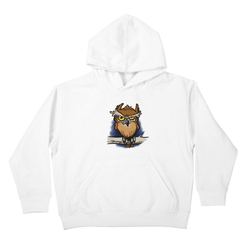Grumpy Owl Kids Pullover Hoody by binarygod's Artist Shop